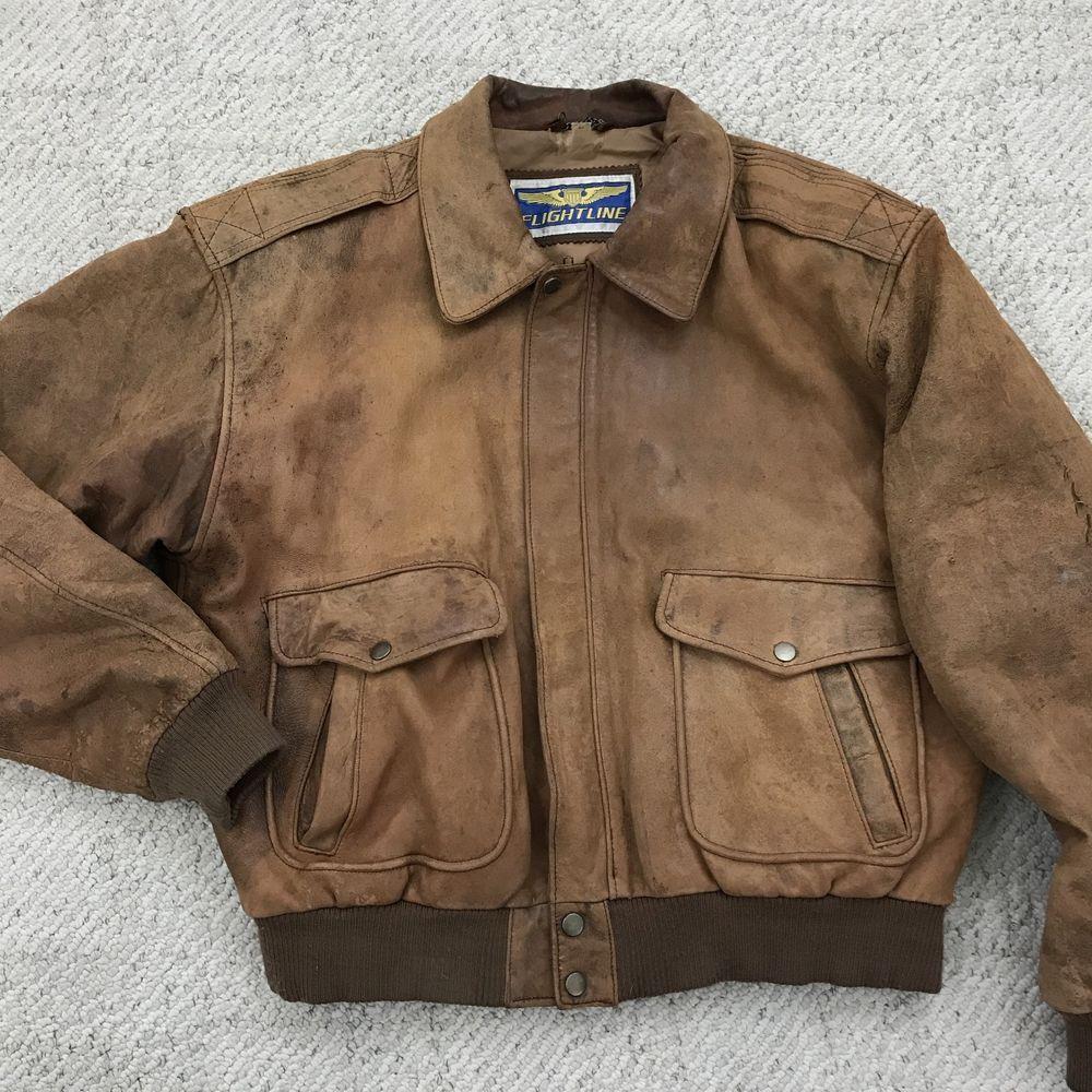 59d5206eae1184 80s Distressed Leather Bomber Jacket L Mens Brown Vintage Flightline Aviator   Flightline  FlightBomber