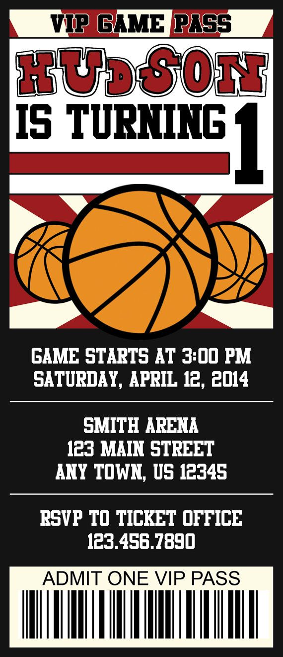 Basketball Ticket Invitation - Customize with your team\'s colors ...