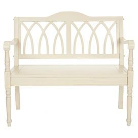 """Wood bench with an openwork back and turned legs. Product: Bench Construction Material: Wood Color: Antiqued white  Features: Perfect in an entry hall, three-season porch or kitchen       Dimensions: 36"""" H x 39.5"""" W x 18"""" D"""