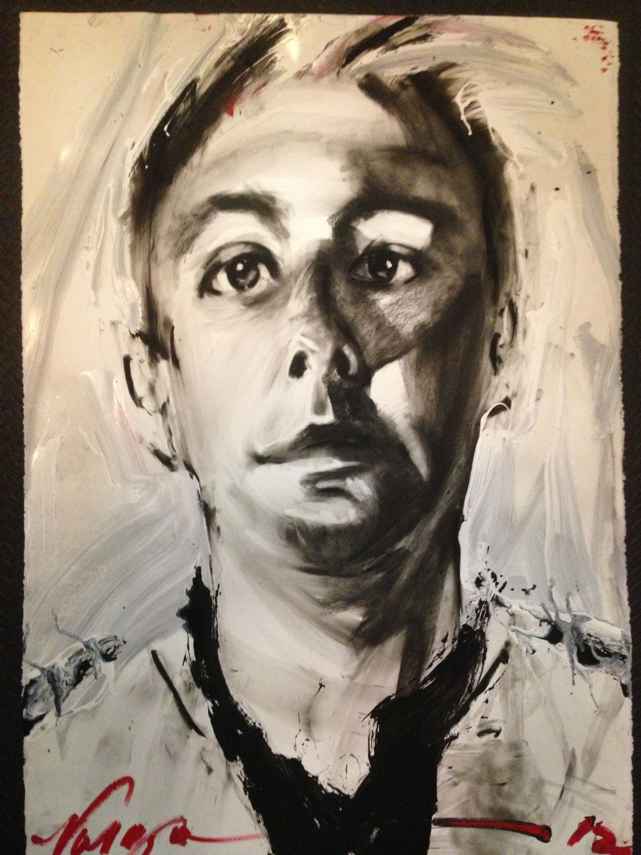 portrait of me by Robert Vargas at his live painting event during this Monty's DTLA ArtWalk.