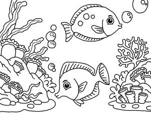 Clown fish and carols deep sea coloring page for kids | 영감 ...