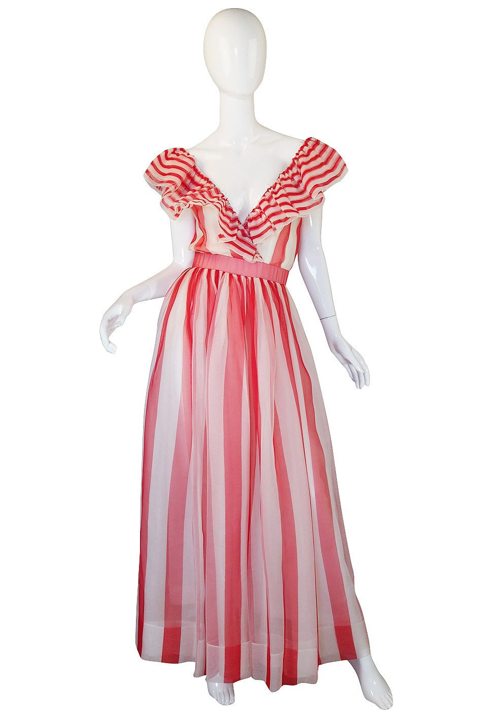 1979 Documented Christian Dior Striped Silk Gown