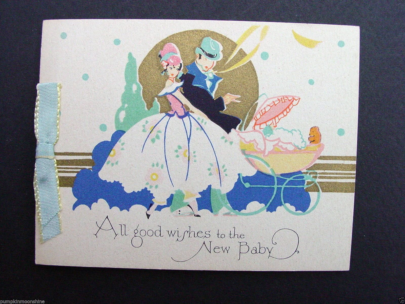 E582 Vintage Unused Volland New Baby Greeting Card Fancy Couple