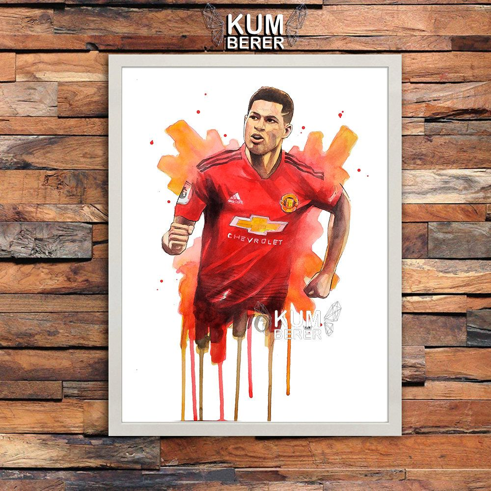 Marcus Rashford Manchester United Digital Download Printable Files Sport Wall Art Home Decor Watercolo Poster Prints Soccer Artwork Sports Wall Art