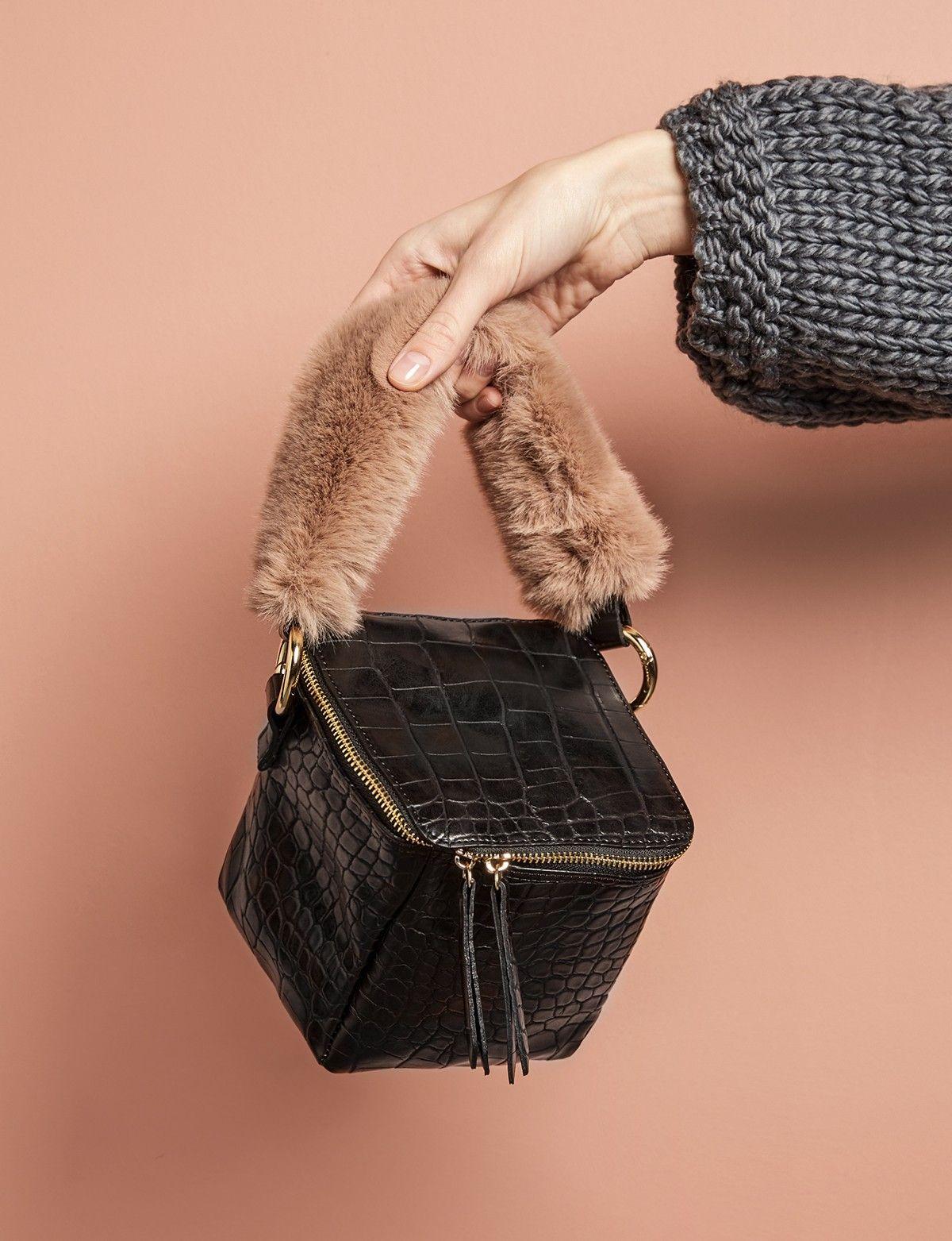 Black Croc Fur Handle Boxy Bag Boxy Bags Fur Bag Bags 2017