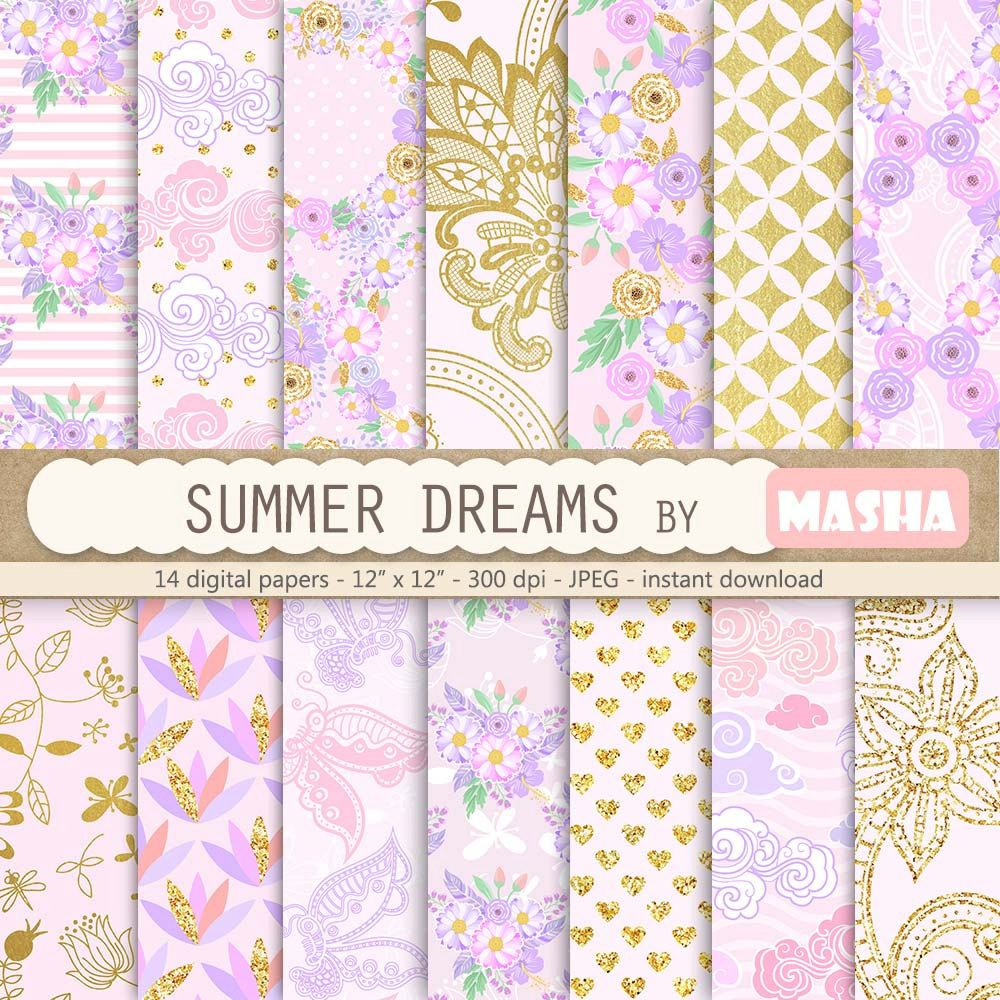 Summer digital papers: SUMMER DREAMS with floral | Etsy