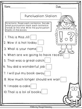 Lively image intended for free printable punctuation worksheets