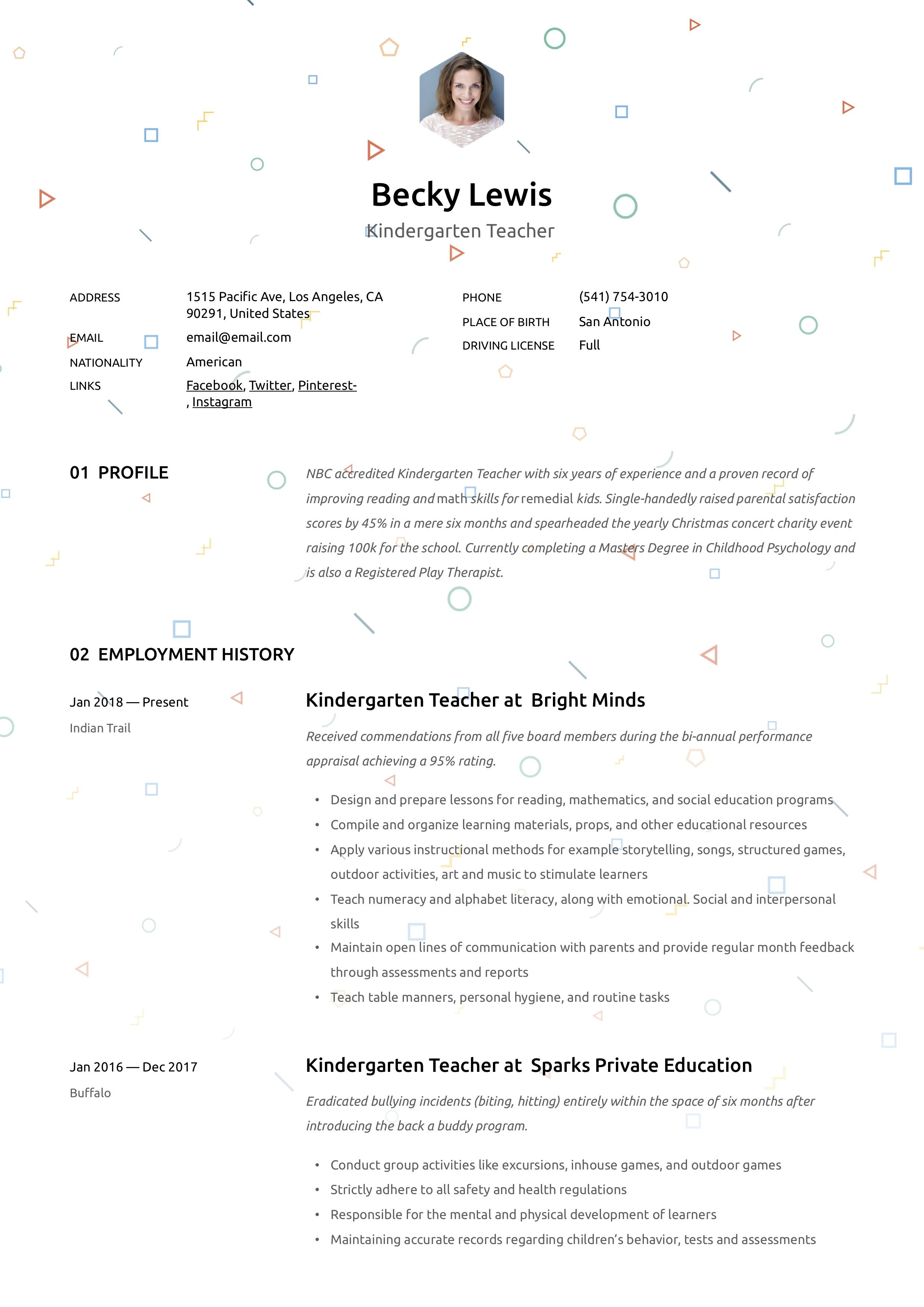 Resume Writing Examples For Teachers