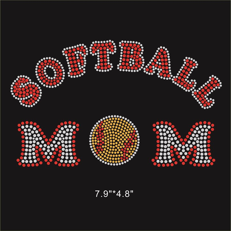 Softball Mom Hot-fix Crystal Design Bling Bling For Kid s No.1 Fans ... 405b820b6112