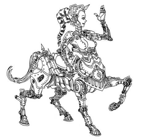 steampunk centaur robot coloring page from steampunk category select from 25529 printable. Black Bedroom Furniture Sets. Home Design Ideas