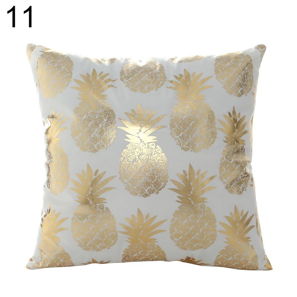 Gilding Love Heart Pineapple Print Pillow Cushion Cover Case Car Home Decor – as the picture b