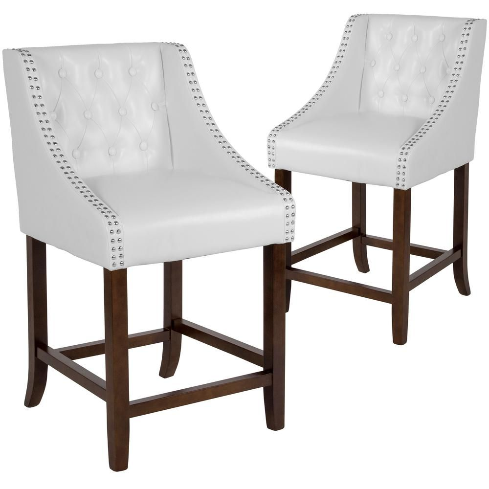 Carnegy Avenue 24 In White Leather Bar Stool Set Of 2 White