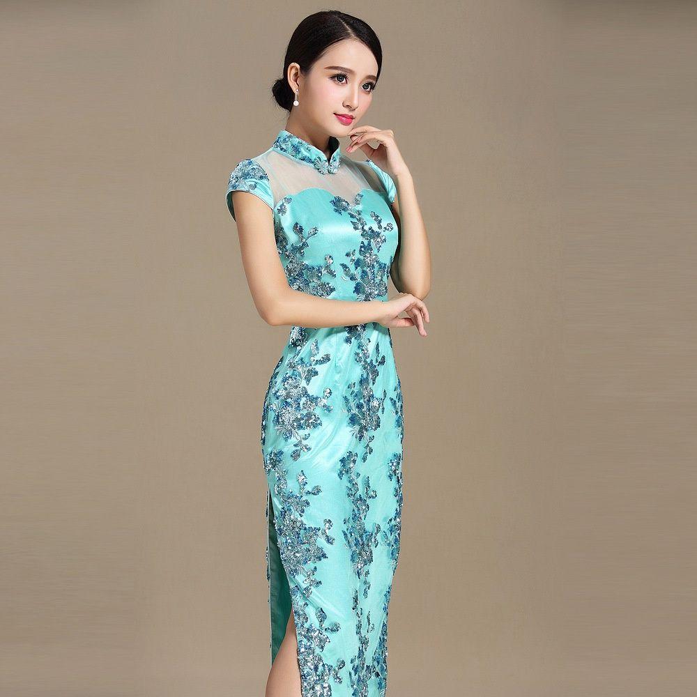 Charming Embroidery Lace Qipao Chinese Dress Cheongsam - Qipao ...