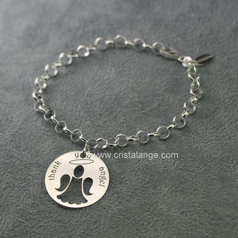 magnifique bracelet ange de la gratitude avec une breloque en argent et un message de gratitude. Black Bedroom Furniture Sets. Home Design Ideas
