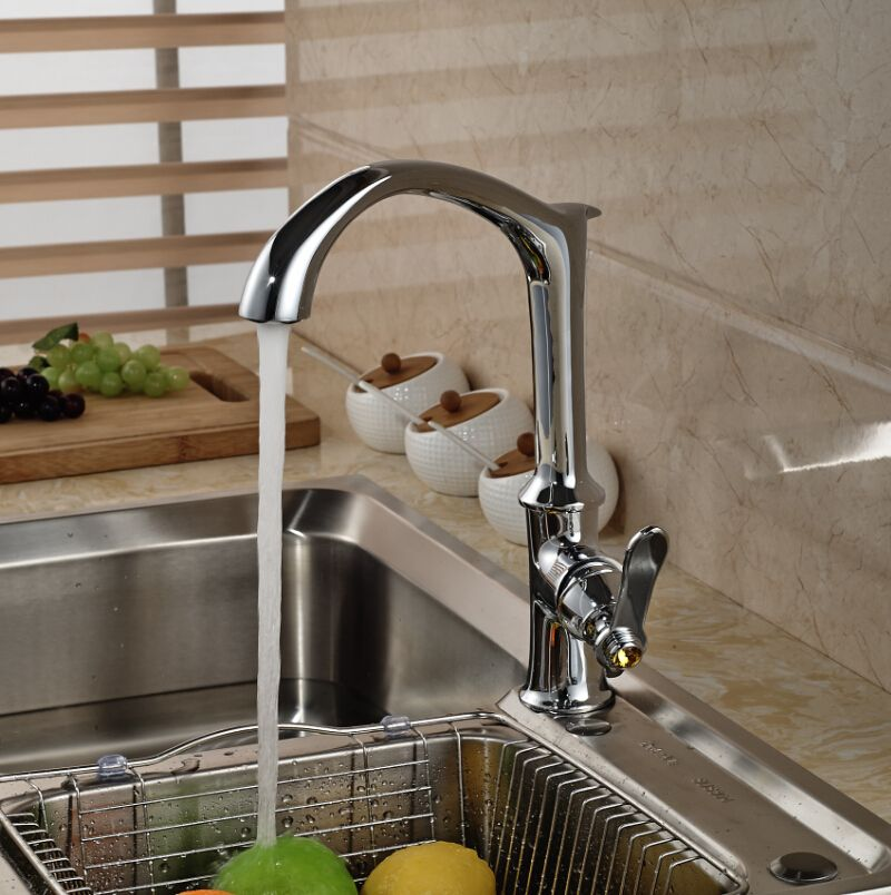 Creative Design Brass Chrome Kitchen Hot Cold Water Faucet Single Handle Mixer Tap Deck Mount