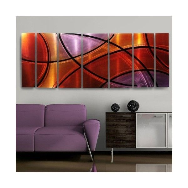 Amazon.com - Vivacious Fusion Of Red, Orange & Purple Metallic... ($365) ❤ liked on Polyvore featuring home, home decor, wall art, metal wall art, orange home accents, purple home accessories, metal home decor and red home accessories