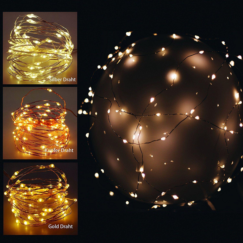 40 er LED Mikro Lichter auf Draht - kupfer - biegsame Lichterkette ...