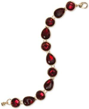Nine West Round and Teardrop Stone Link Bracelet - Red