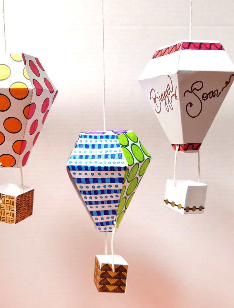Hot Air Balloon Mobile Template And Coloring Page Babyroom