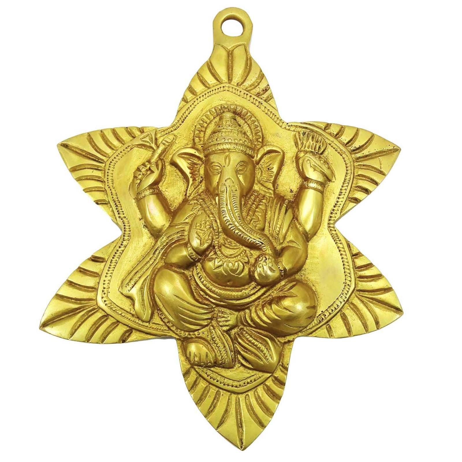 Indian Ethnic Sculpture Lord Ganesha Wall Hanging Traditional Brass ...