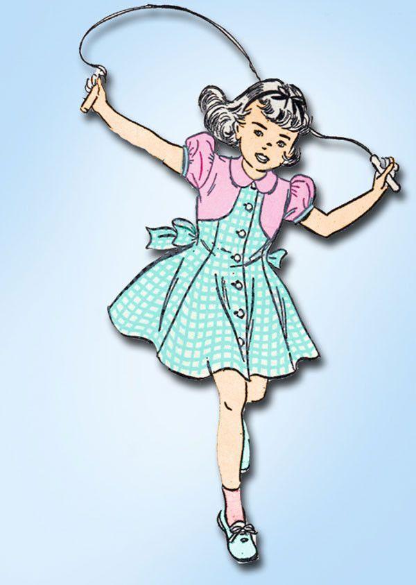 1940s Vintage Toddler Girls Dress 1948 Advance Sewing Pattern 4952