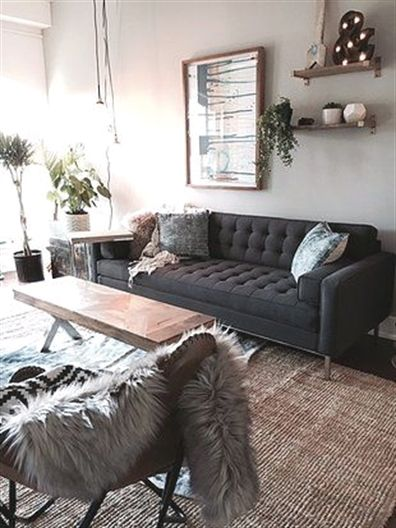 Pin By Lisa Porcello On Living Room Dark Grey Couch Living Room