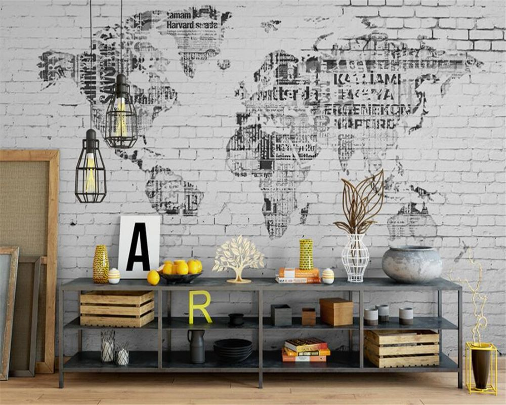 Beibehang photo wall mural wallpaper retro world map brick wall beibehang photo wall mural wallpaper retro world map brick wall background wall abstract art painting wall gumiabroncs Gallery