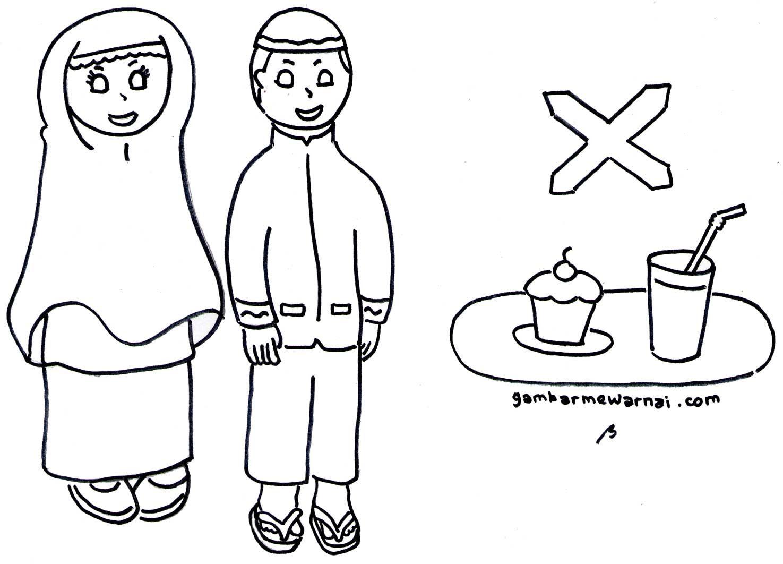 Gambar Mewarnai Anak Latihan Berpuasa Ramadhan Gambar Warna Anak
