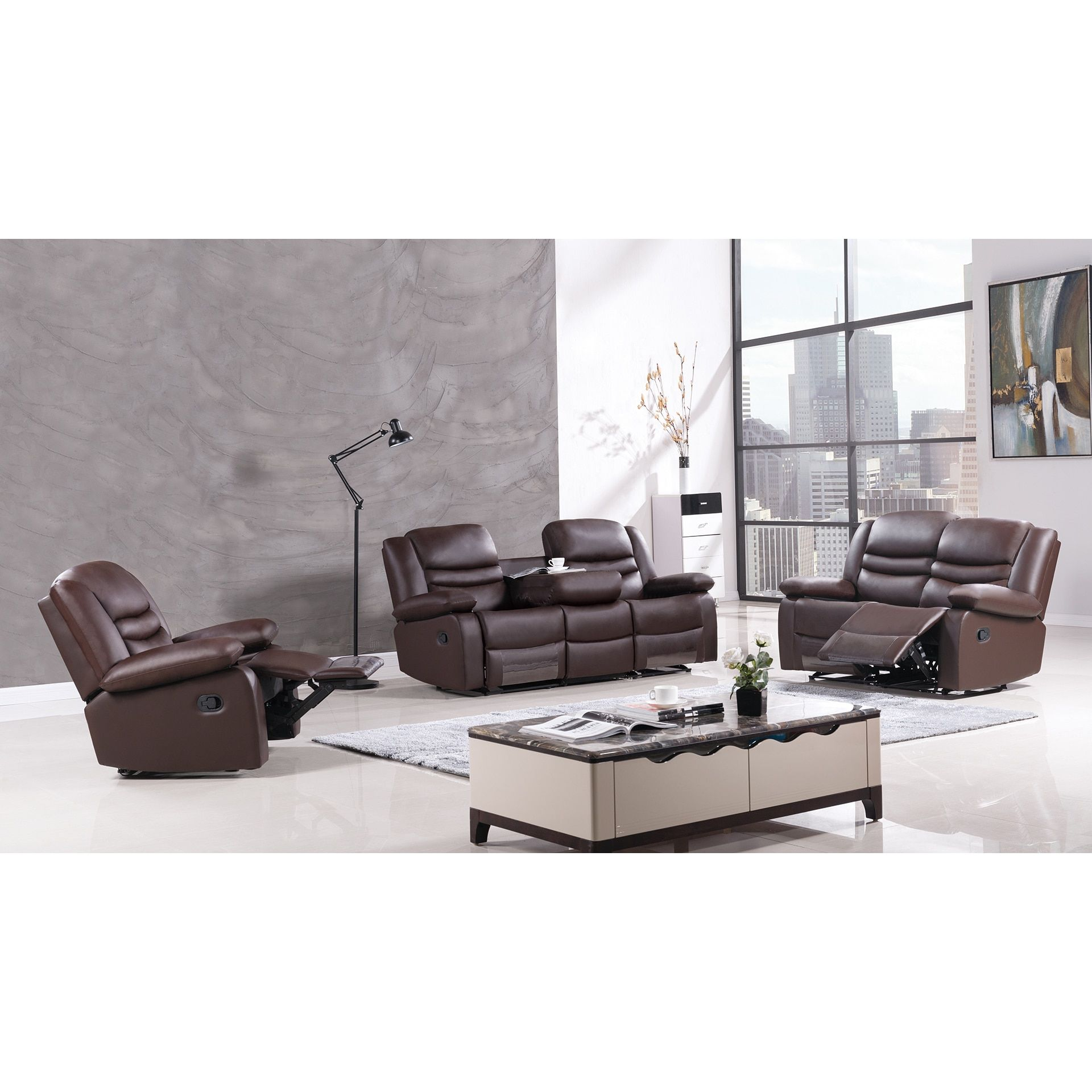 American Eagle Dark Faux Leather Recliner Sofa Set Products
