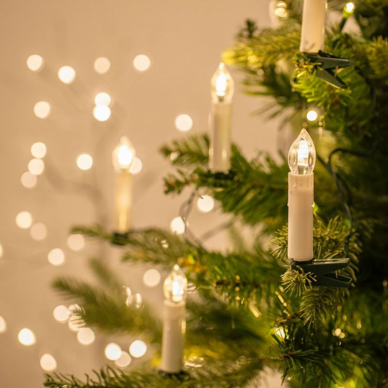 Christmas Tree LED Wax Dripping Taper Candles With Removable Clip ...