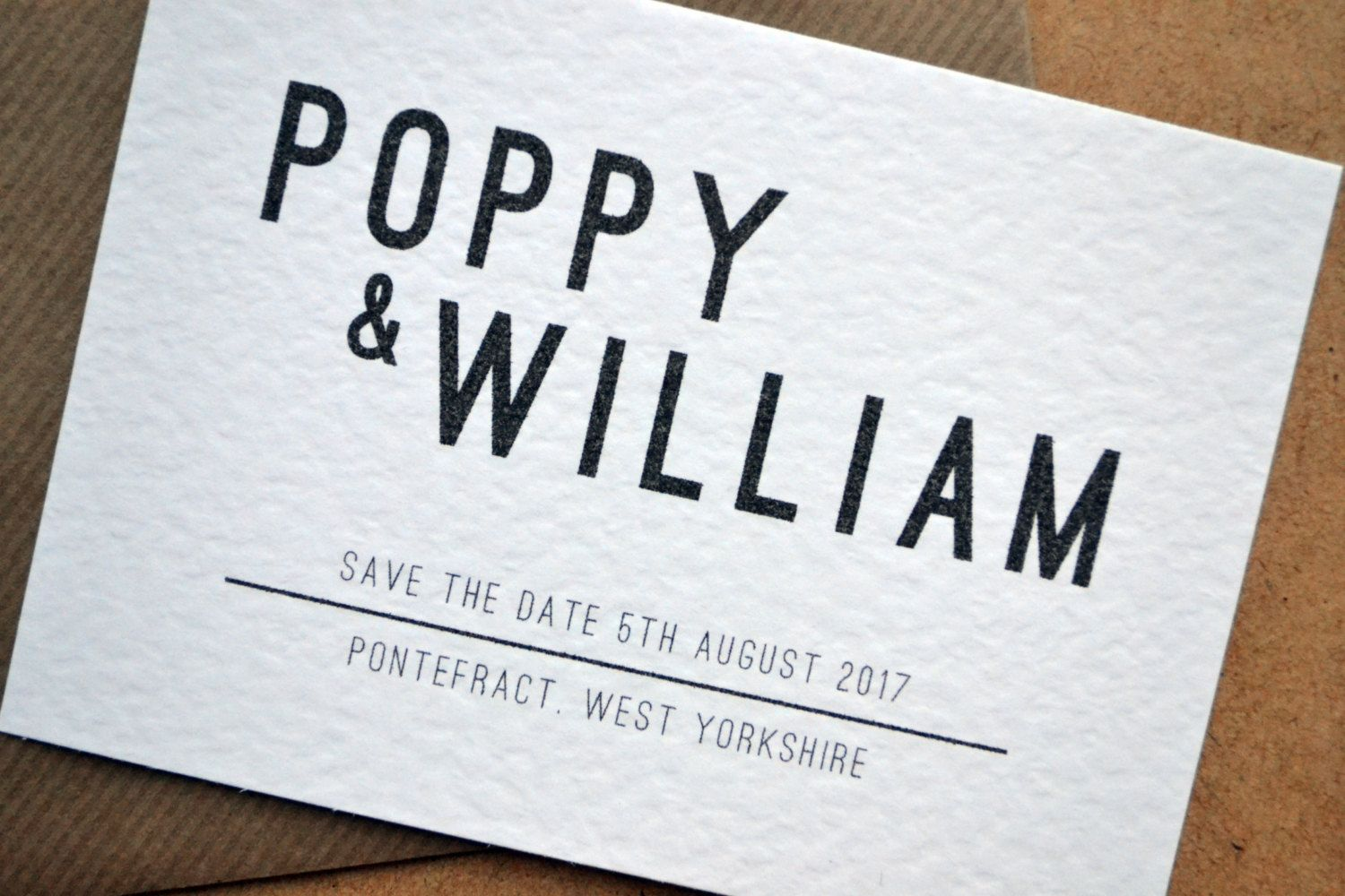 Save the Date – Bold Script Hammered White A6 Personalised Black & White Typography Wedding including C6 Kraft Envelope