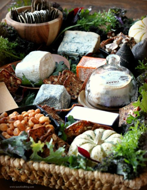 cheeses in a wicker tray for the fall
