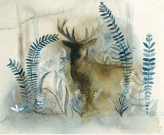 Stag in Blue Forest Original Watercolor Painting by amberalexander, $100.00