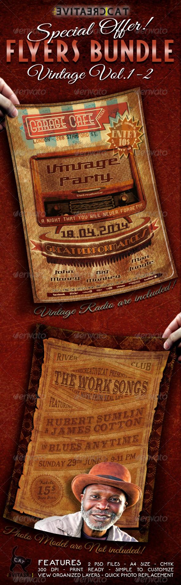 Vintage Flyer/Poster Bundle Vol.12 Letterpress type