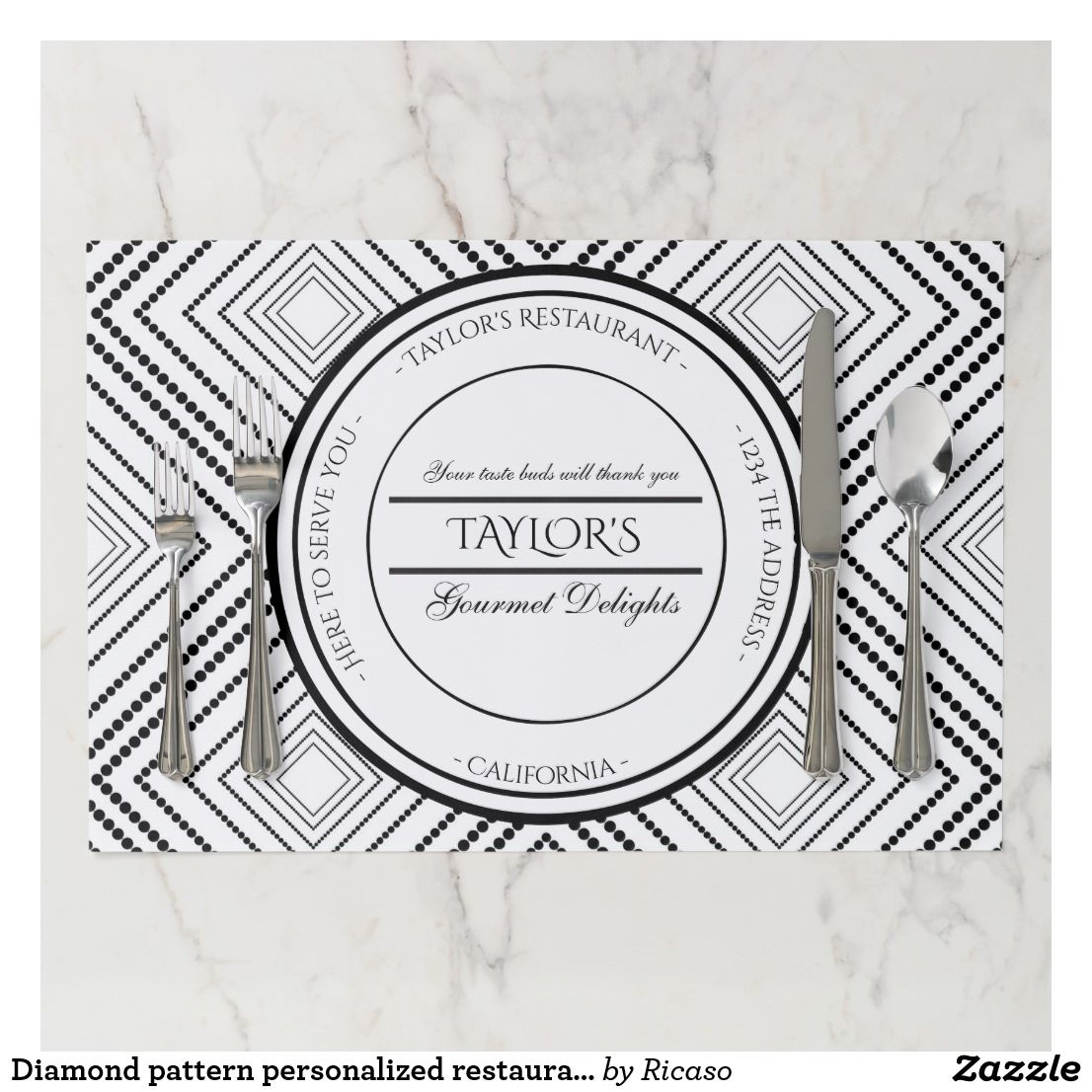 Diamond Pattern Personalized Restaurant Paper Placemat Zazzle Com Diamond Pattern Placemats Pattern