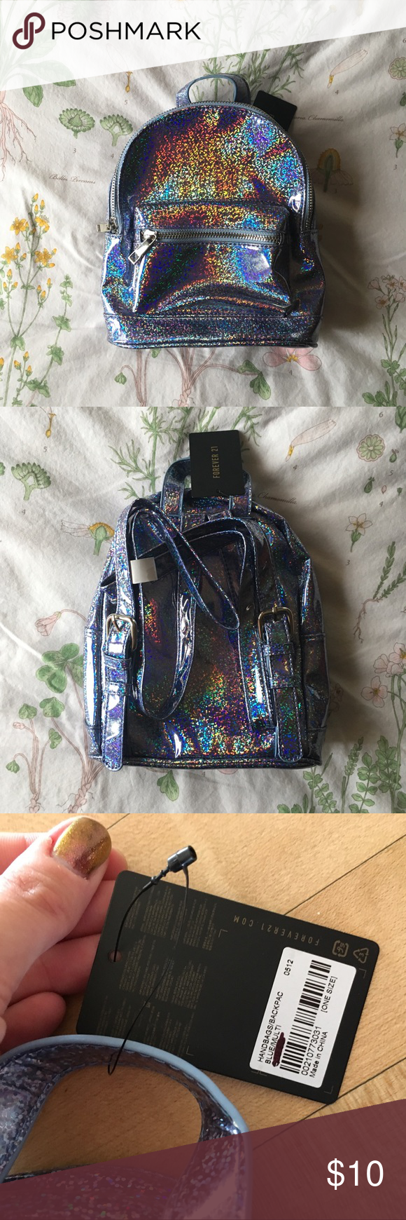 Baby blue holographic Forever 21 mini backpack! NWT Blue