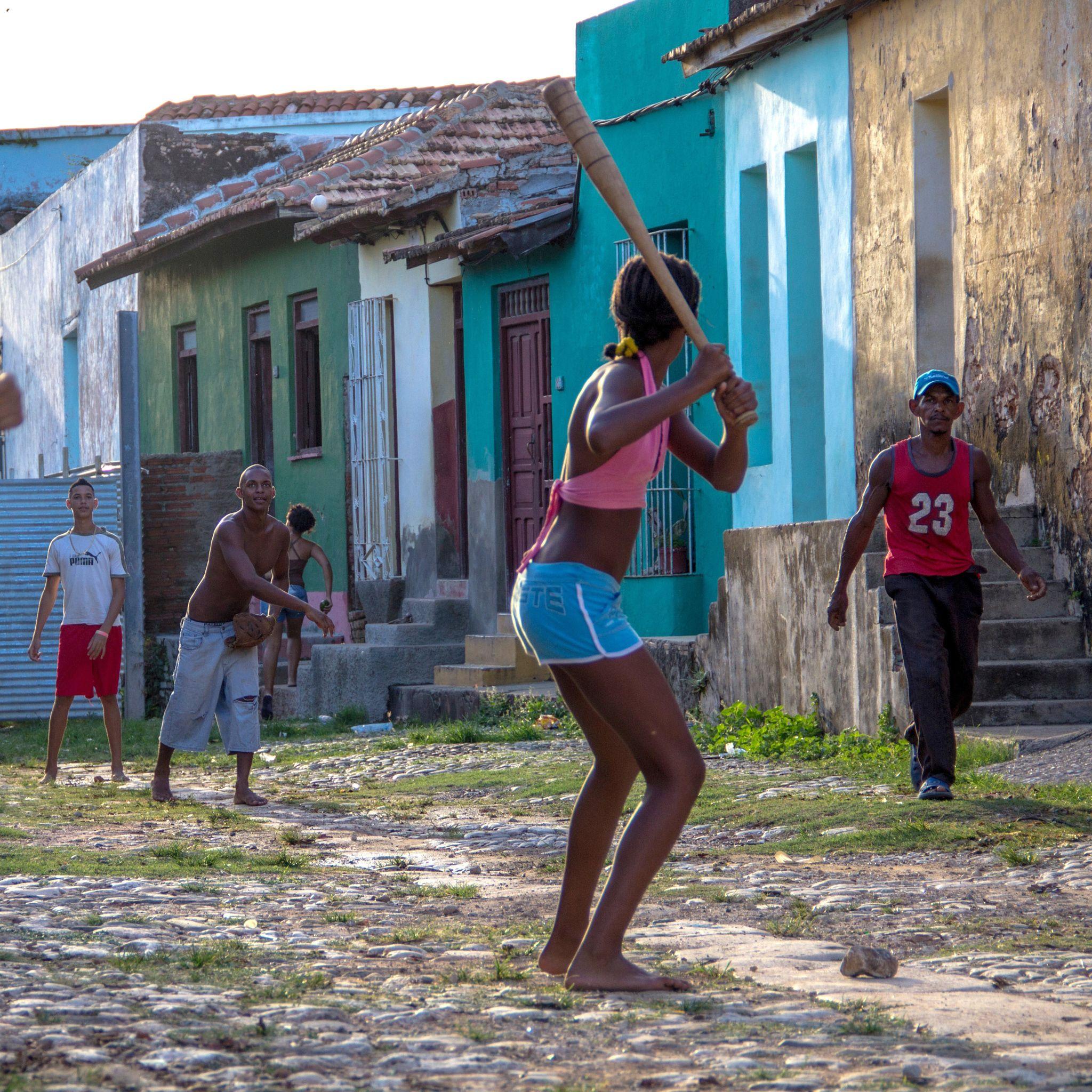 Baseball in trinidad a bunch of cuban kids playing