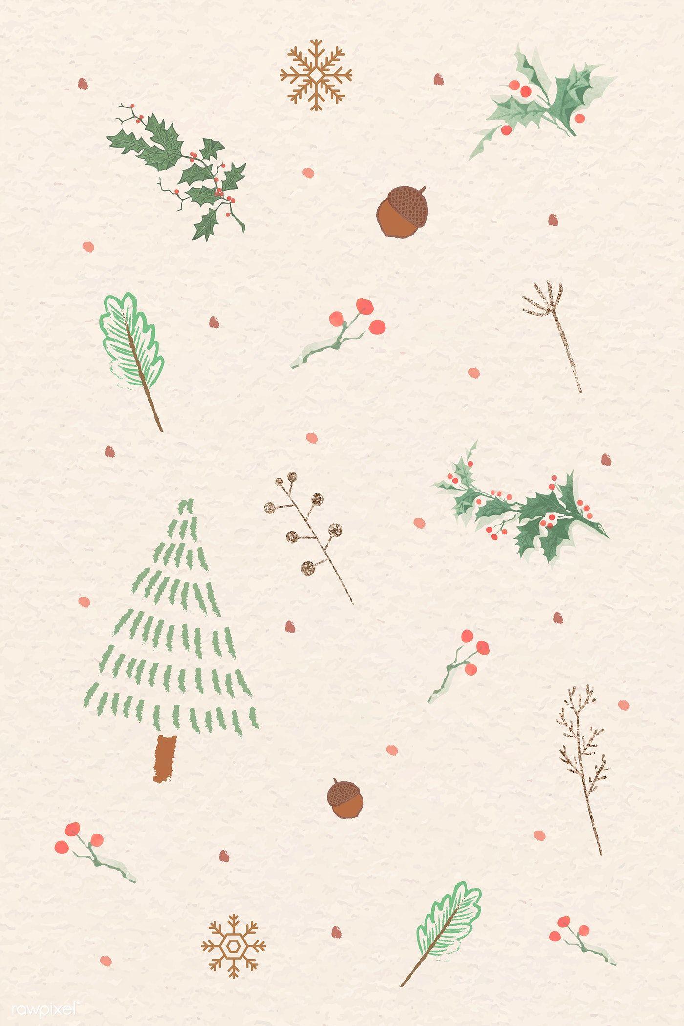 Download Premium Vector Of Christmas Elements Doodle Pattern Vector 1228252 Christmas Phone Wallpaper Xmas Wallpaper Cute Christmas Wallpaper