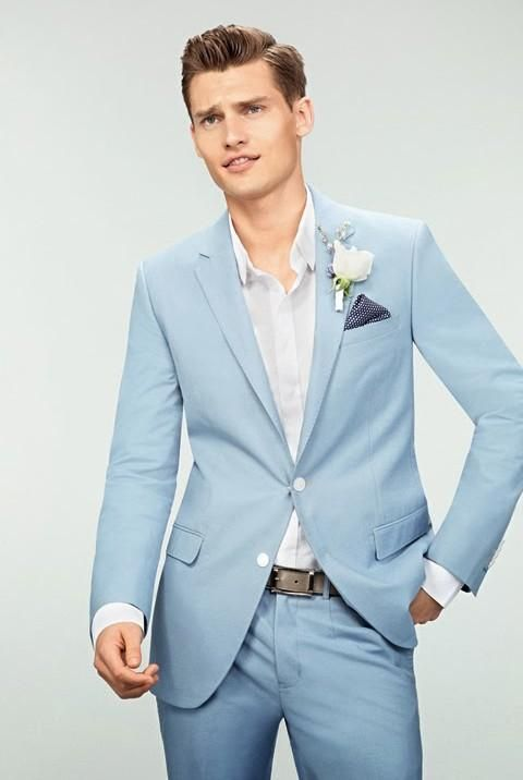 Wedding Suits For Men Light Blue Grooms Tuxedos Notched Lapel Mens