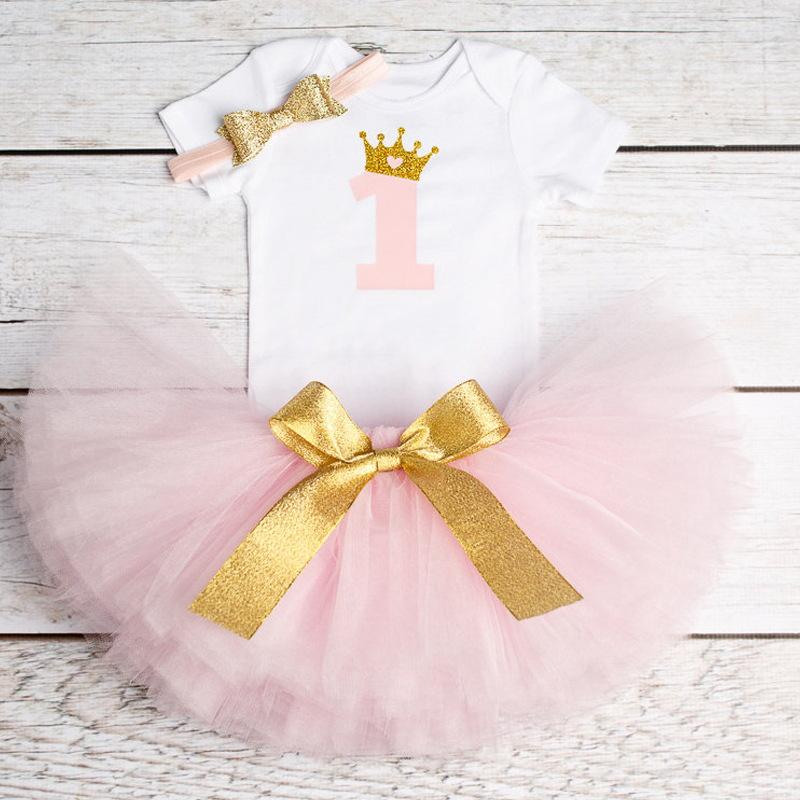 Infant Baby Girl Romper+Headband Outfits First Birthday Tutu Dress Princess Set