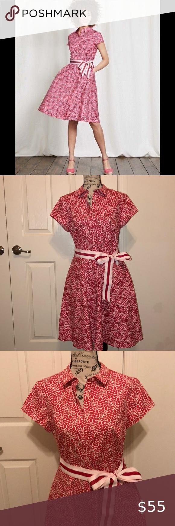 Boden Sophia Shirt Dress Belt Cotton Red