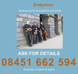 Endymion String Quartet - Endymion String Quartet from Manchester Weddings Corporate Events UK Bollywood and Jewish music for Indian or Jewish weddings and events. Online Bookings HotLine +44 161 374 5398 #bookanentertainer