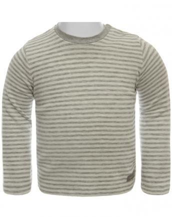 Langarmshirt WOOD geringelt in grau melange