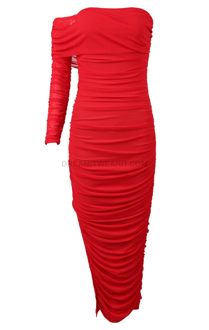 Pure Envy Ruched Midi Dress Red Red Midi Dress Red Dress Red Dress Women [ 3936 x 2624 Pixel ]