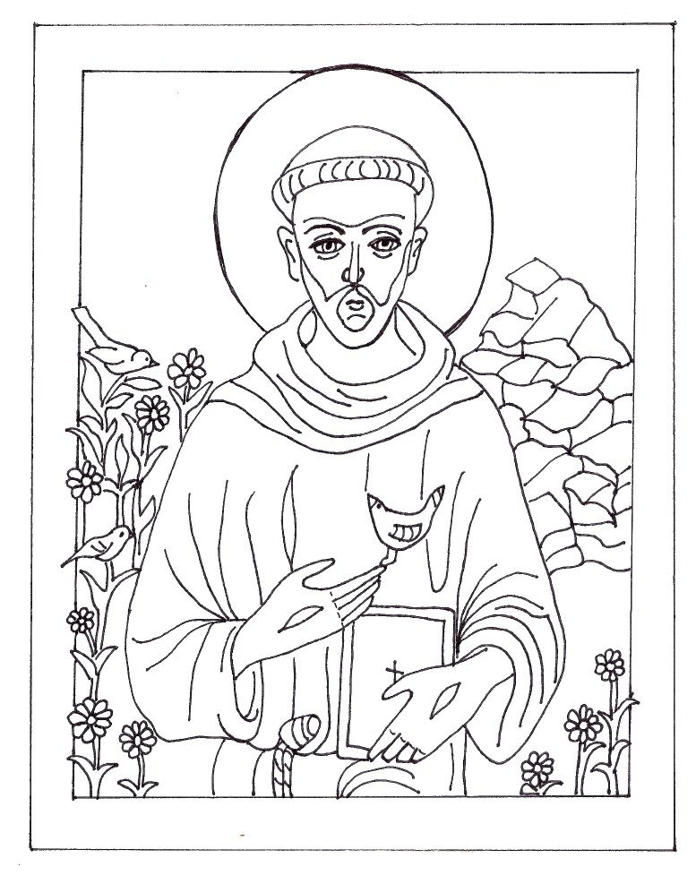St Francis Of Assisi Coloring Page In Honor Of His Feast Day October 4th Coloring Pages St Francis Saint Coloring