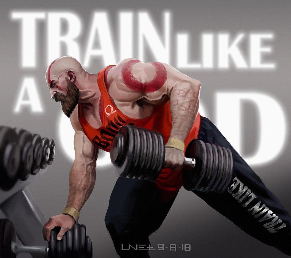 Train Like A God Ronnie Wang On Artstation At Https Www Artstation Com Artwork Ymwlb Kratos God Of War God Of War Gym Images