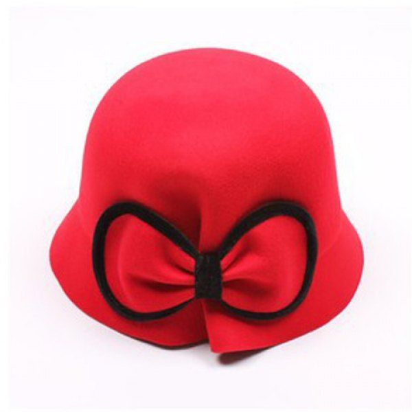 Chic Bicolor Bowknot Decorated Hat For Women, RED in Hats | DressLily.com