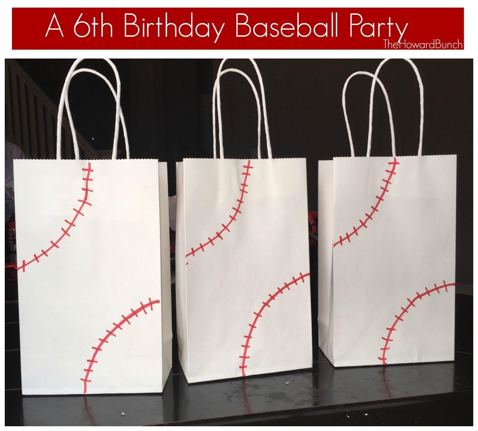 A Baseball Themed Sixth Birthday Treat Bags Gift