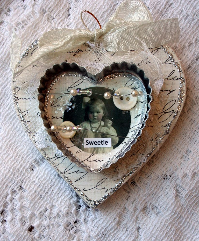 Sweetie Altered Ooak Heart Cookie Cutters Ornament And