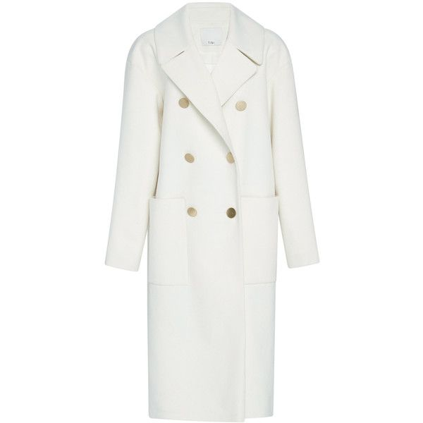 Tibi Midi Coat ($995) ❤ liked on Polyvore featuring outerwear, coats, white double breasted coat, tibi, fur-lined coats, white coat and double breasted coat